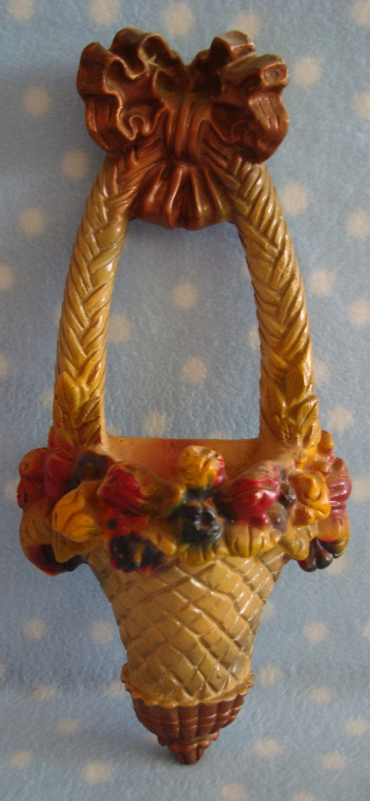 Chalk floral WALL POCKET sconce vintage vibrant paint color - Excl condition
