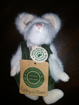 """Boyds Colby S. Mouski 6"""" White w Green Overalls Pink Ribbon Rose & Tags - $14.06"""