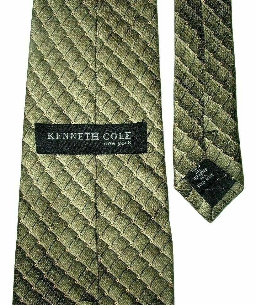 "Kenneth Cole New York Men's Silk Neck Tie Beige Gold Brown 57"" NWOT"