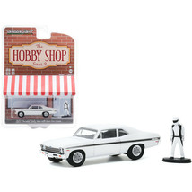 1972 Chevrolet Rally Nova White with Black Stripes with Race Car Driver Figur... - $17.35