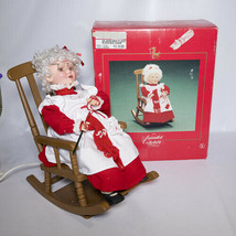 Santas Best Mrs. Claus Knitting in Rocker SEE VIDEO Animated Collectible... - $49.95
