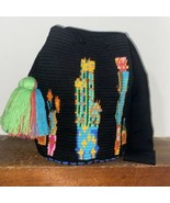 Authentic 100% Wayuu Mochila Colombian Bag Large Size Special black Cact... - $150.00
