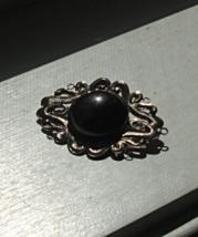 Ornate Vintage Pin Brooch, Scroll Pattern, Mirror Effect, Thin Metal - $5.00