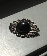 Ornate Vintage Pin Brooch, Scroll Pattern, Mirror Effect, Thin Metal - $5.00