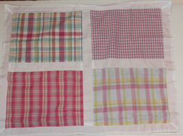 "Pink Green Madras Plaid Patchwork Pillow Sham Nautica 28.5"" x 23""  - $9.74"