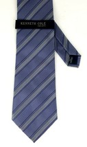 Kenneth Cole Blue with White Striped 100% Silk Neck Tie - $24.99