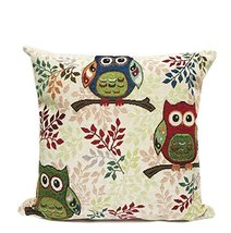 Fennco Styles Owl Collection Woven Decorative Throw Pillow - 17-inch Squ... - $25.73