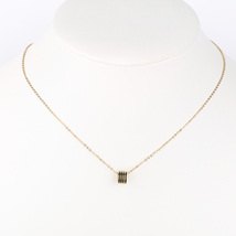 UE- Gold Tone Designer Necklace With Jet Black Inlay & Stacked Circular Pendant - $14.99