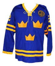 Any Name Number Sweden Hockey Jersey Blue Any Size image 1