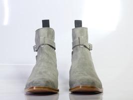 Handmade Men's Gray Suede High Ankle Monkstrap Jodhpurs Boots image 4