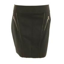 Ann Taylor Pencil Skirt Zippers Faux Leather Trim Black Size 8P Petite - $14.50