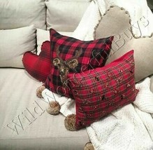 Pottery Barn Jeweled Plaid Lumbar Pillow Cover Red 12x16 New - $39.50