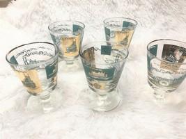 5 Libbey Short Stem Glasses Riverboat Teal Gold Leaf 1950s Southern Comf... - $24.70