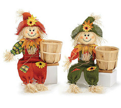 Sitting Scarecrow Pair with Basket Fall decor - $25.95