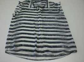 W13577 Womens GAP Black/White Sparkle Striped Sheer Blouse SHIRT Top LARGE - $28.97