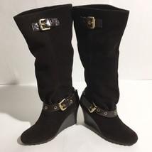 Women's Michael Kors Norma Brown Suede Knee High Wedge Boots Side Zip Sz... - $58.00