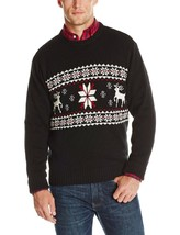 Mens Sweater Ski Lodge Dockers Deer 100% Cotton Fair Isle Red/Black NEW $65 - $29.97