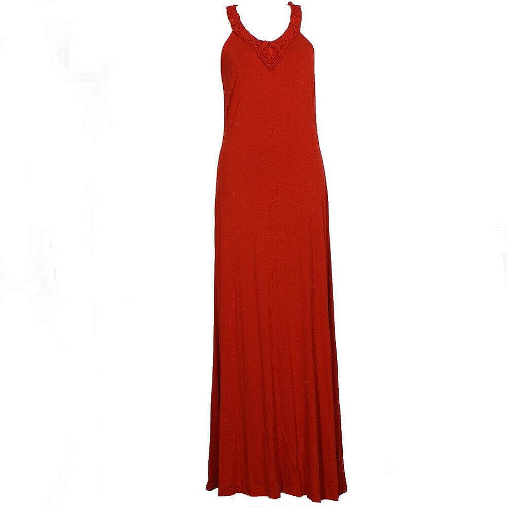 RALPH LAUREN Red Stretch Viscose Jersey Knit Macrame Neck Maxi Dress L