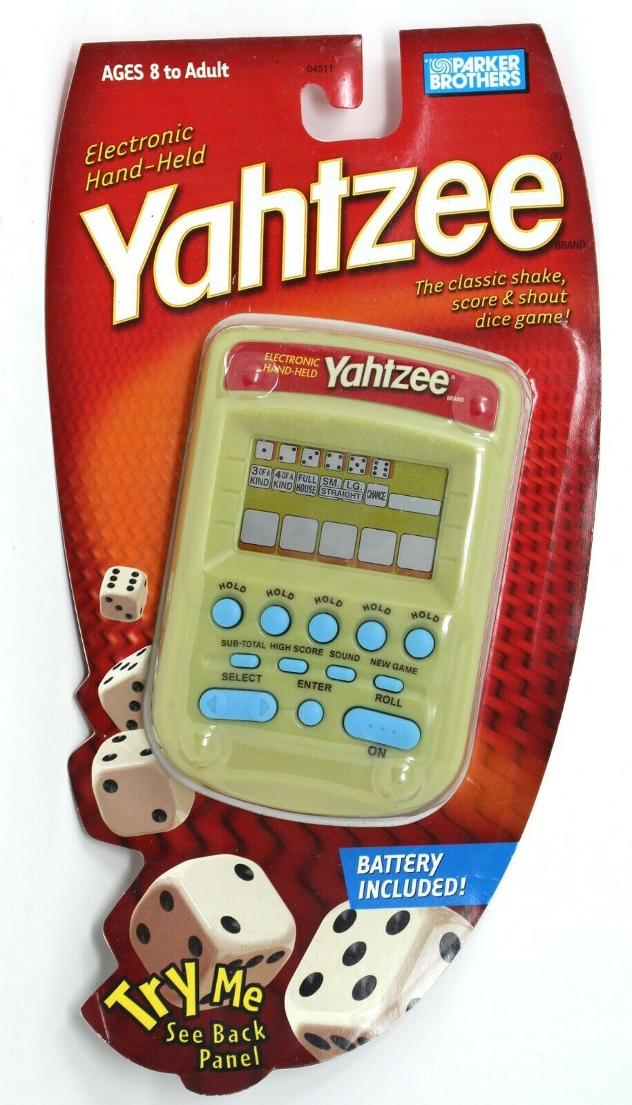 Primary image for Yahtzee Electronic Hand-Held Gold Blue Buttons Milton Bradley Hasbro Very Rare