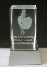 MARILYN MONROE 3D LASER ENGRAVED ETCHED CRYSTAL CUBE WITH LIGHTED STAND NIB - $51.08