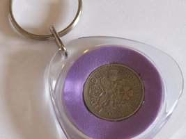 real sixpence birthday keyring choose colour, birthday gift  image 2
