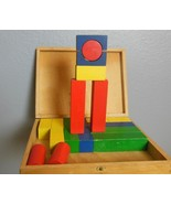 "Vintage Wood Box with Latch and Painted Building Blocks 6.5 x 8.5 x 1.5"" - $21.00"