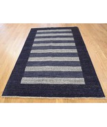 """3'10""""x6' Hand Knotted 100 Percent Wool Modern Gabbeh Striped Rug G39436 - $243.65"""