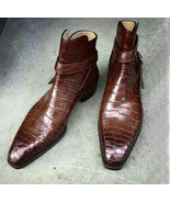 Handmade Mens brown Alligator Leather boot, Mens Jodhpurs Buckle Ankle H... - $169.97+