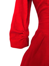 50s Poppy Red Velvet Fit & Flare Xmas Party Bubble Skirt Pin Up Rockabilly Dress image 5
