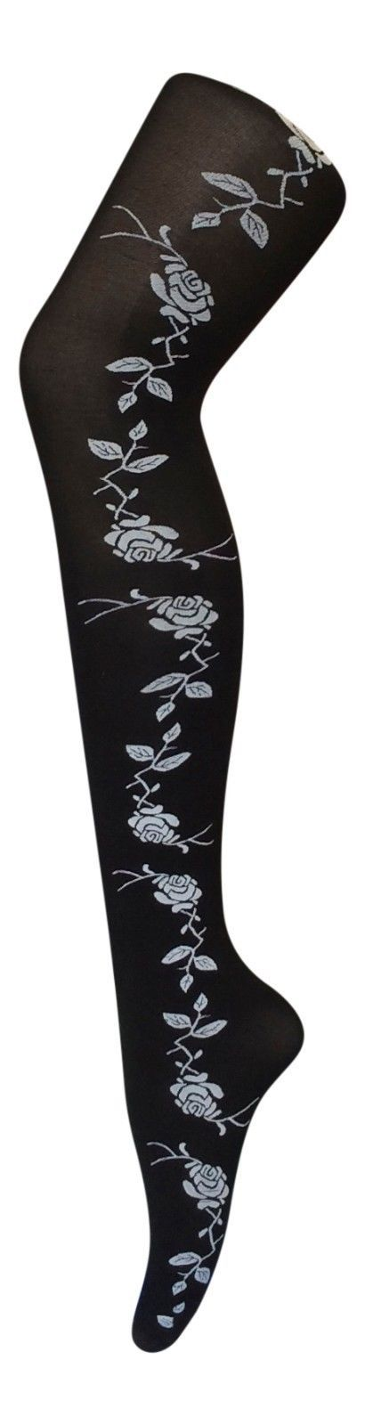 Ladies Black 40 Den Opaque Tights with Rose Designs, One Size 8-14 uk, 36-42 eur