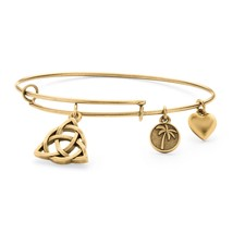 PalmBeach Jewelry Celtic Knot Charm Bangle Bracelet in Antique Gold Tone - $12.49