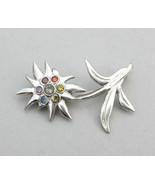 Edelweiss broch fine silver, rainbow gemstone brooch, flower brooch - $130.00