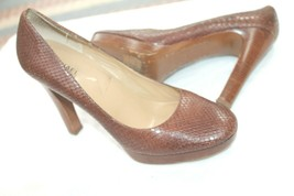 Michael Kors Size 10 M Hamilton Platform Pumps Heels Brown Snakeskin Lea... - $19.80