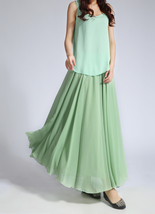 CHIFFON MAXI Skirt Sage-Green Long Silk Chiffon Maxi Skirts Bridesmaid Skirts image 6