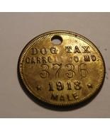 hard to Find Dog Collar Tag / Tax Token Carroll Co. Maryland 1918  - $35.00