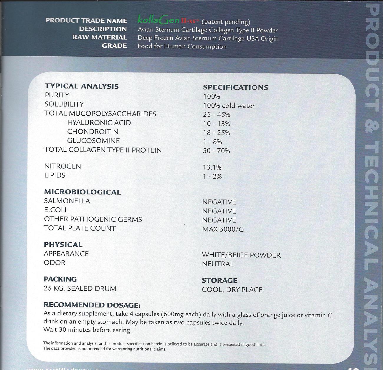 CHICKEN CARTILAGE COLLAGEN TYPE II HYDROLYSATE-JOINT HEALTH*SKIN*BONES*TISSUES