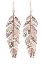 Feather Metal Earrings, Rose Gold Feather Earrings, Druzy Feather Earrings