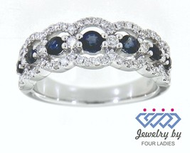 0.68CT Blue Sapphire Gemstone 14K White Gold Real Diamond Fancy Band Jew... - $2,715.00