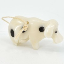 Hand Carved Tagua Nut Carving Small Milk Cow Ornament Handmade in Ecuador