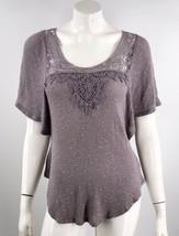 Deletta Top Sz Medium Gray Kimono Sleeve Crochet Lace Detail Anthropolgi... - $19.80