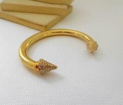 Vintage Egyptian Deco Style Rhinestone Gold Tone Small Cuff Bracelet E10 - $18.69