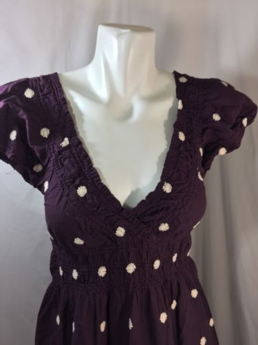 Cute Options Woman Burgundy Dress Size S 100%  Cotton White Floral deep v neck