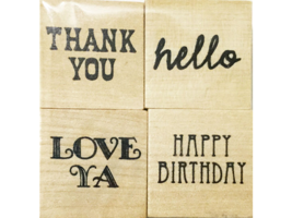 Mini Sentiment Rubber Stamps by Recollections, Set of 4