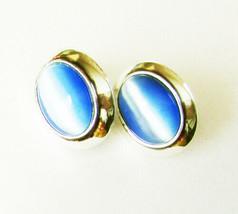 Avon blue stone oval earrings silver tone setting modern stud pierced ones - $4.21