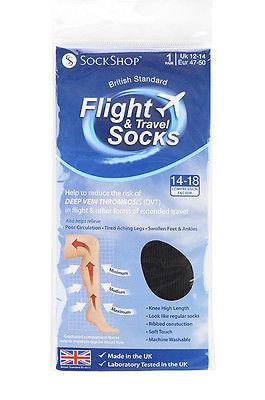 Sockshop chaussettes de vol noires 14-18mmhg taille 40-42 pointure 47-50 homme