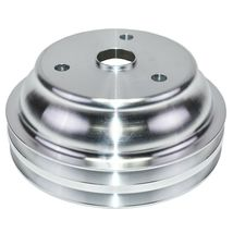 Chevy Small Block Long Water Pump Double Groove Aluminum Crankshaft Pulley image 4