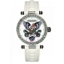Marc Ecko E15087M2 Women's White Leather Strap with White Analog Dial Watch - $38.35