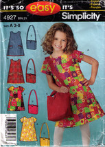 DRESS & BAG Pattern 4927-s Girl Size 3-8 - $9.99