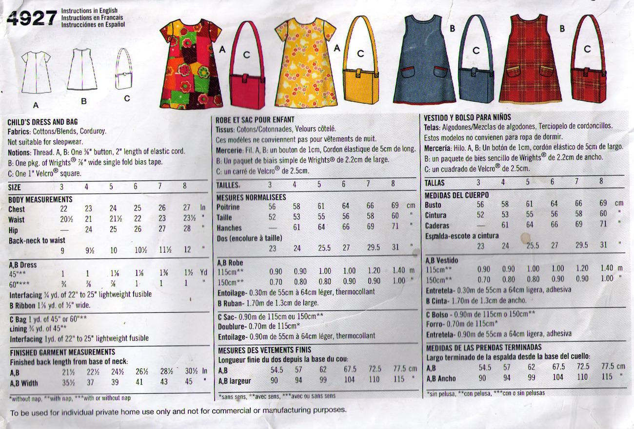 DRESS & BAG Pattern 4927-s Girl Size 3-8