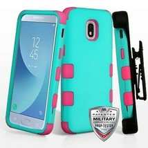 Teal Green/Pink TUFF Hybrid Case Cover for SAMSUNG Galaxy J3 V 2018/Star/Achieve - $14.56